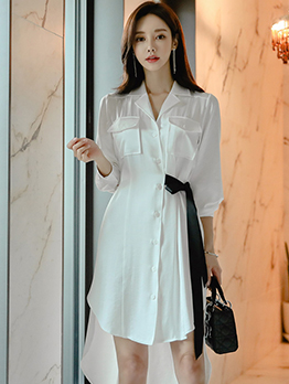 OL Style Side Tie-Wrap High-Low Shirt Dress