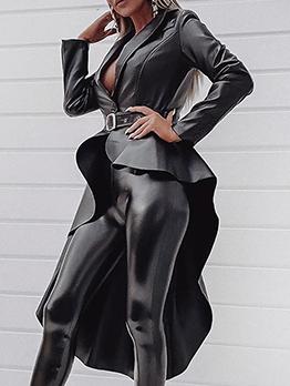 Asymmetrical High Low Hem Black Pu Long Coat