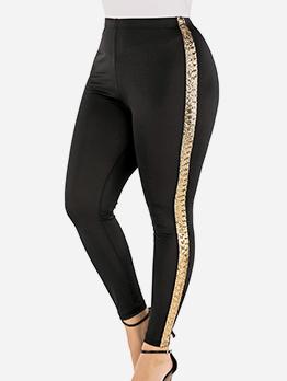 Side Sequins Patchwork Plus Size Pants For Women