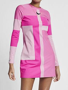 O Neck Color Block Long Sleeve Short Dress Casual
