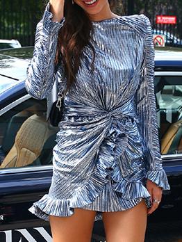 Twisted Ruffled Hem Long Sleeve Dress