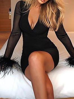 Gauze Patchwork V Neck Black Bodycon Dress