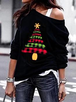 Christmas Tree Plaid Print Black Sweatshirt