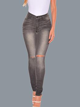 Simple Style Knee Hole Mid Waist Skinny Jeans