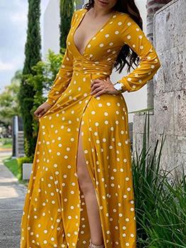 Deep v Polka Dots Long Sleeve Maxi Dress