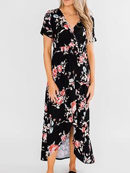 Irregular Hem Short Sleeve Floral Maxi Dress