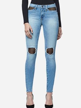 Trendy Mid Waist Gauze Patchwork Ladies Jeans
