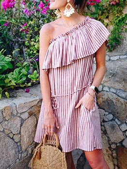 Inclined Shoulder Striped Short Sleeve Summer Dresses