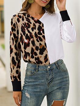 Contrast Color V Neck Leopard Print Blouse