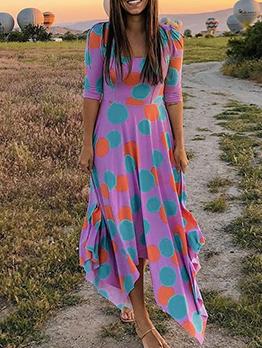Contrast Color Polka Dots Casual Maxi Dresses