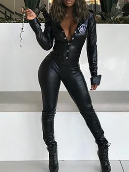 Fashion Single Breasted Black Pu Long Sleeve Jumpsuit