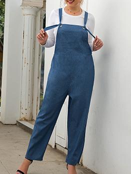 Suspenders Wide Leg Denim Jumpsuit For Women