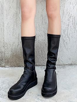 Slip On Round Toe Mid Calf Boots