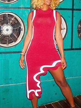 Individual Irregular Hem Ladies Sleeveless Dress