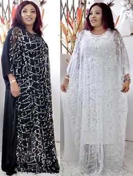 Chiffon Sequins Two Piece Maxi Dress
