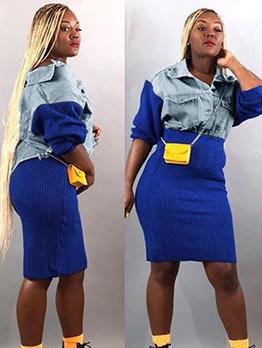 Contrast Color Denim Jacket With High Waist Skirt