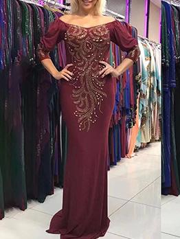 Fashion Rhinestone Beading Evening Cocktail Dress