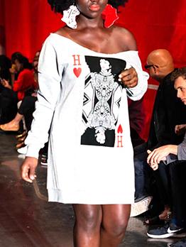 Euro Poker Print White Long Sleeve Dress