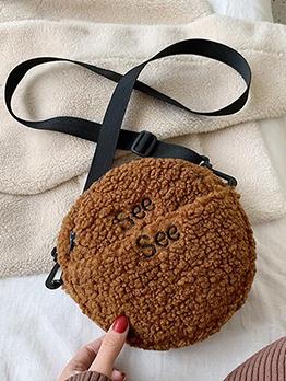 Round Letter Embroidered Hairy Shoulder Bag
