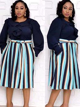 Color Block Striped Ruffled Long Sleeve Dress