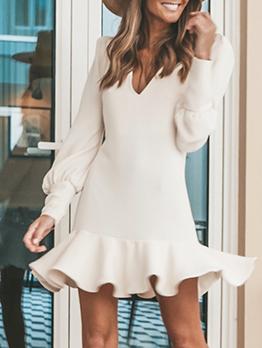 V Neck Ruffled Hem Long Sleeve Short Dress