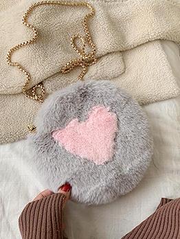 Heart Shape Soft Plush Round Chain Crossbody Bags
