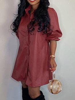 Turndown Collar Solid Long Sleeve Leather Dress