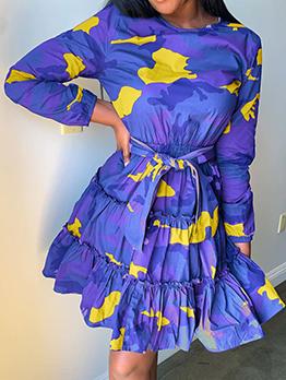 Camouflage Print Ruffled Long Sleeve Short Dress