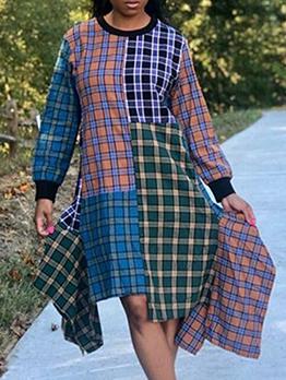 Color Block Plaid Irregular Long Sleeve Dress