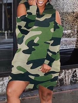 Camouflage Cold Shoulder Hooded Long Sleeve Short Dress