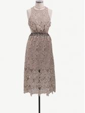 Halter Backless Lace Sleeveless Midi Dress