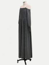 Shiny Lantern Sleeve Off The Shoulder Evening Dress