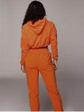 Minimalist Pure Color Hooded 2 Piece Ladies Sportswear