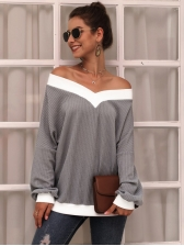 Contrast Color Off The Shoulder Gray Knitting T-Shirt