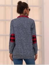 Turndown Neck Deep Gray Sweatshirt For Women