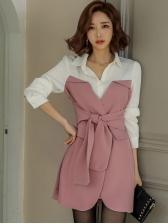 Contrast Color Turndown Collar Tie-Wrap Long Sleeve Dress