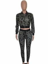 Stand Collar Camouflage Two Piece Workout Outfits