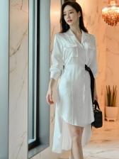 OL Style Side Tie-Wrap High-Low Shirt Dress