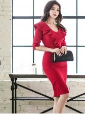 Ruffled Split Red Short Sleeve Dress
