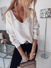 Autumn Deep V Neck Lace Panel Pullover Sweater