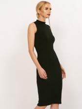 Mock Neck Backless Solid Sleeveless Sheath Dress