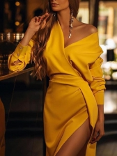 V Neck Split Long Sleeve Yellow Dress