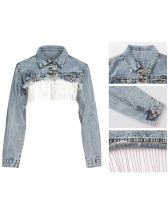 Turndown Neck Long Sleeve Crop Denim Coat
