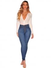 Versatile Pure Color Button Fly High Rise Jeans