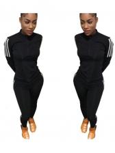 Mock Neck Striped Side Black Activewear Sets