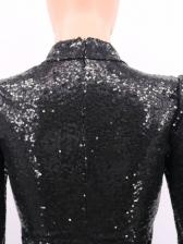 Irregular Hollow Out Long Sleeve Sequin Dress