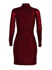 Keyhole Solid Plaid Long Sleeve Dress