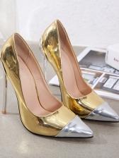 Contrast Color Metal Splicing Pumps Shoes