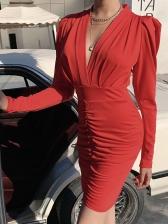 V Neck Ruched Long Sleeve Short Dress