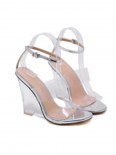 Transparent Clear Heel Peep Toe Wedges